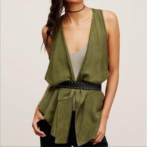 Free People Boho Olive Green Utility Ruffle Vest